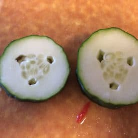 Cucumber with holes on the inside. It's still OK to eat.