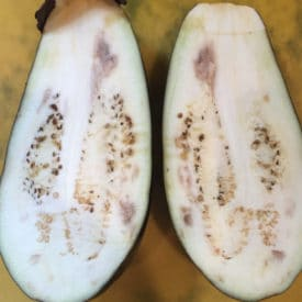 Dark areas like these in an eggplant are OK to eat