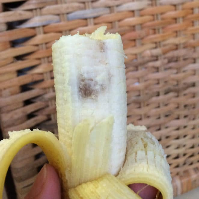 Banana with brown bruise