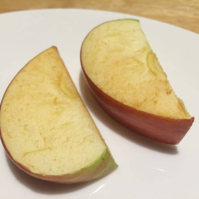 Apple slices that browned. They're still OK to eat.