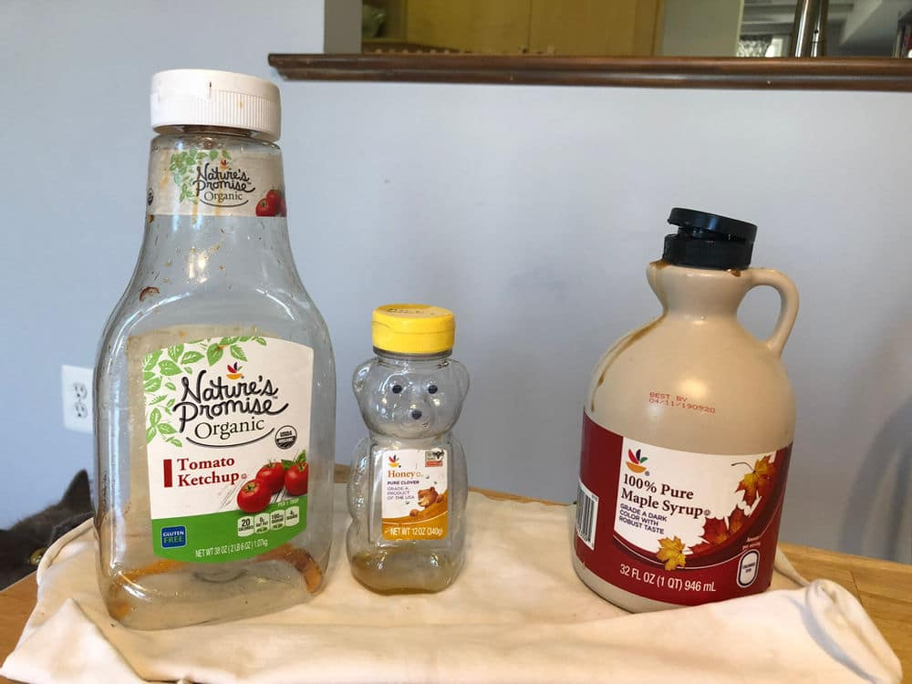 A little oil helped loosed the last bits of ketchup, honey and maple syrup from these bottles