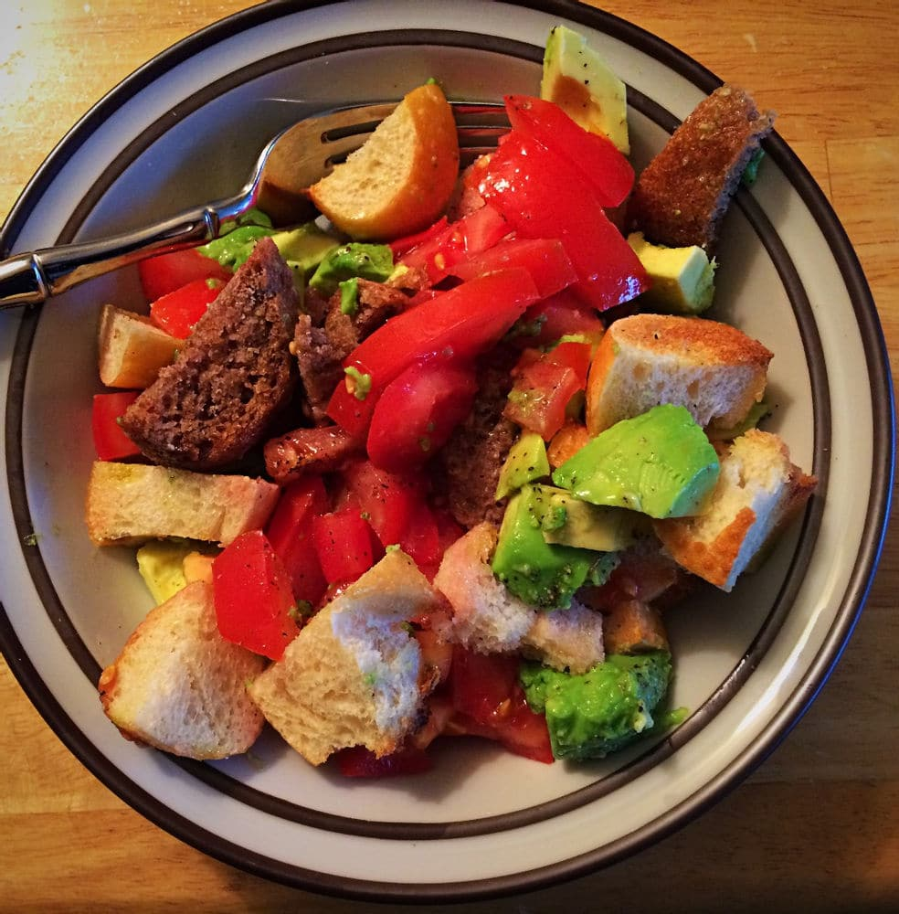 Panzanella with roll left over from a Panera lunch