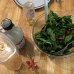 Salad with a dressing made from the last bits inside jars of honey, maple syrup and ketchup