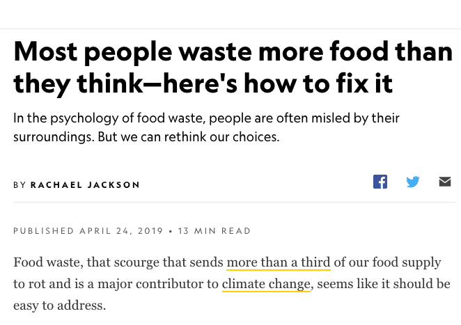 National Geographic screen shot of article about food waste