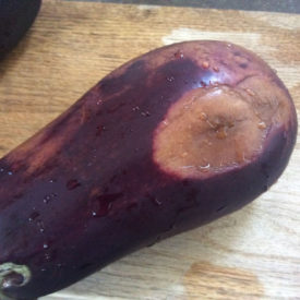 Large soft spots on this eggplant make it no good for eating
