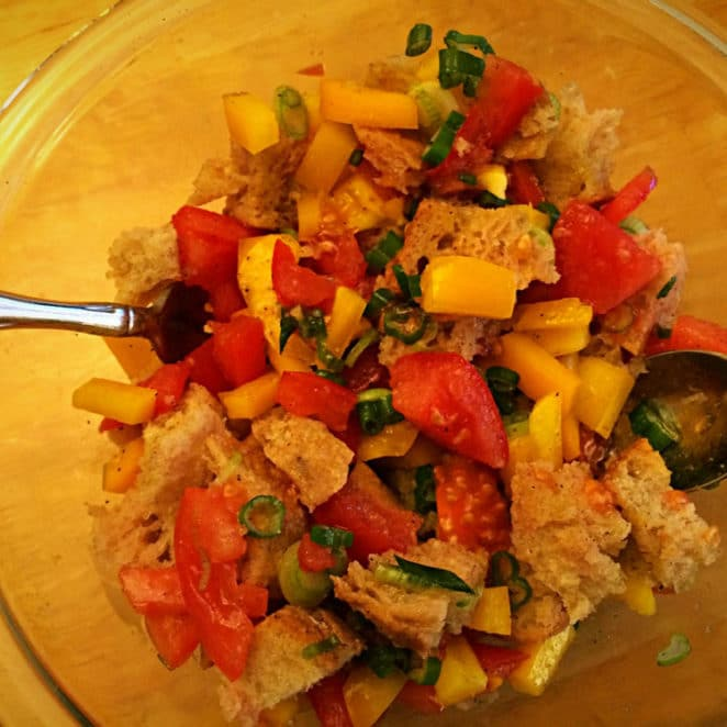 Panzanella made from stale bread