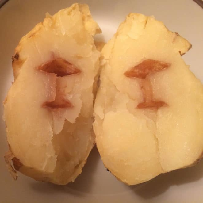 Baked potato with a condition called hollow heart