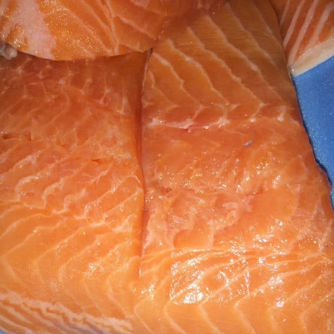 Salmon looks mushy in the middle but is still OK to eat