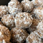 No bake dessert truffles with ground nuts and coconut