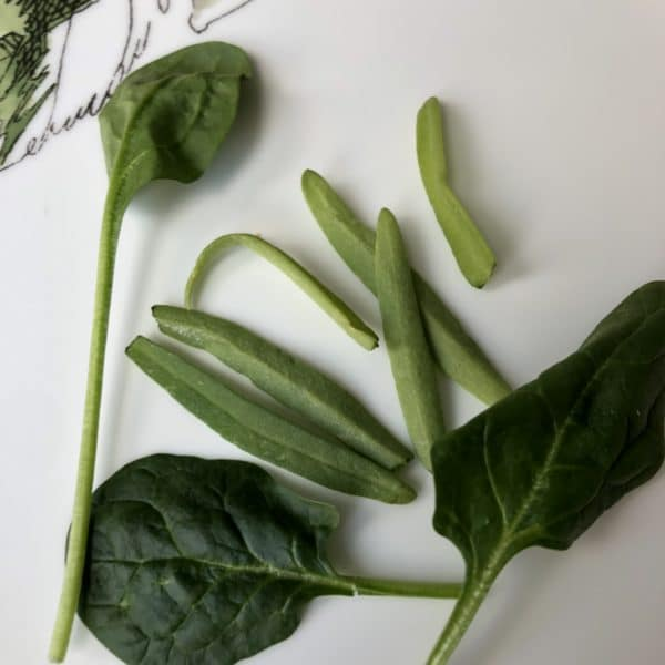 Long slender leaves in spinach clamshells aren't grass, but instead are early spinach leaves.
