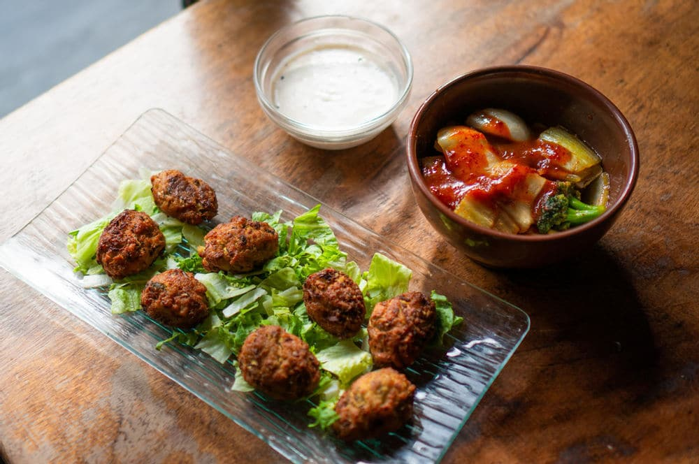 Pickled cabbage butts and broccoli stem tots at Teaism