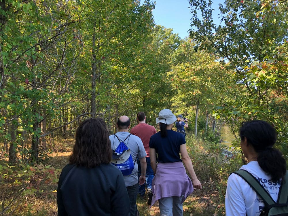 Walking into the food forest in Piscataway Park in Accokeek, Md