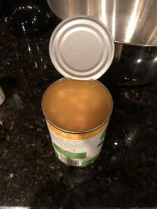 aquafaba, or chickpea water, from a can of garbanzo beans