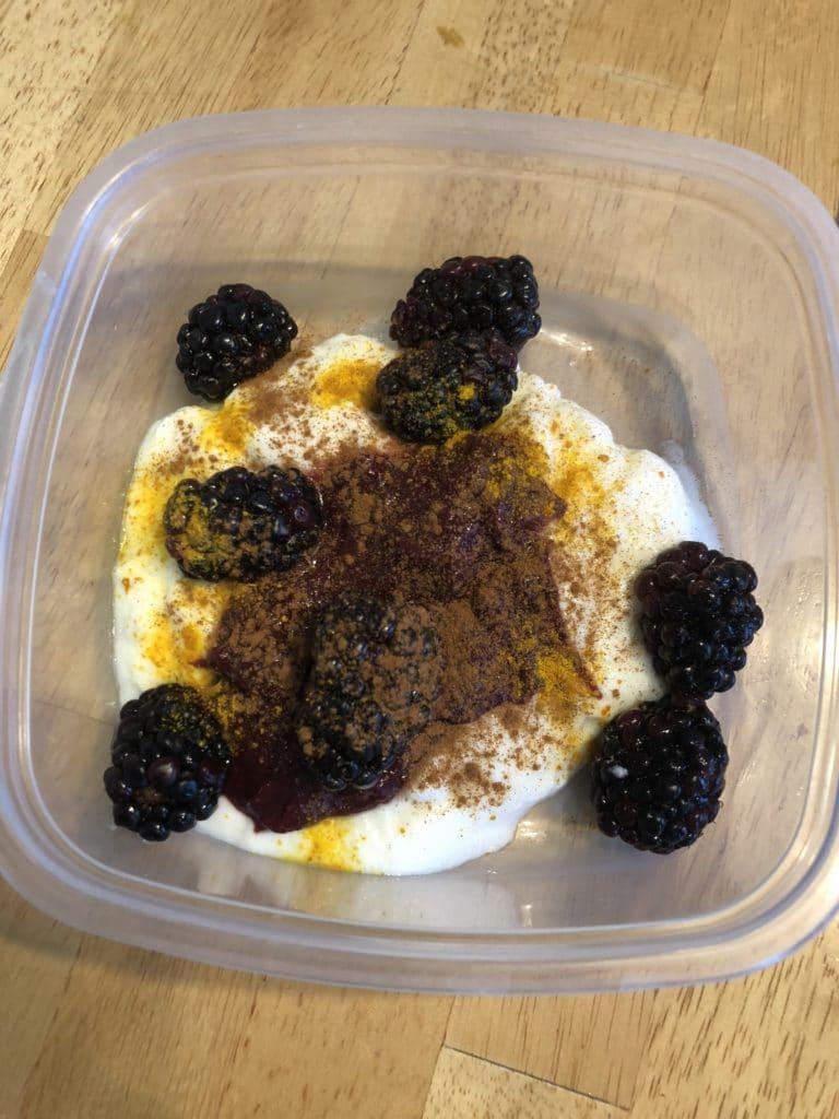 Blackberries, yogurt and turmeric